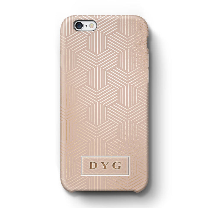 Glossy Geometric Pattern With Initials iPhone 6 Plus 3D Phone Case Champagne