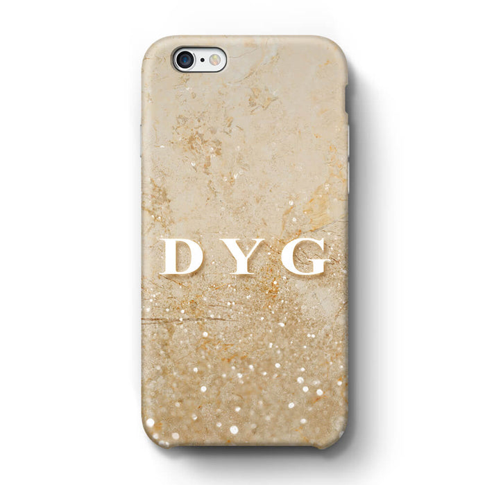 Glitter Marble With Initials iPhone 6 Plus 3D Custom Phone Case cream