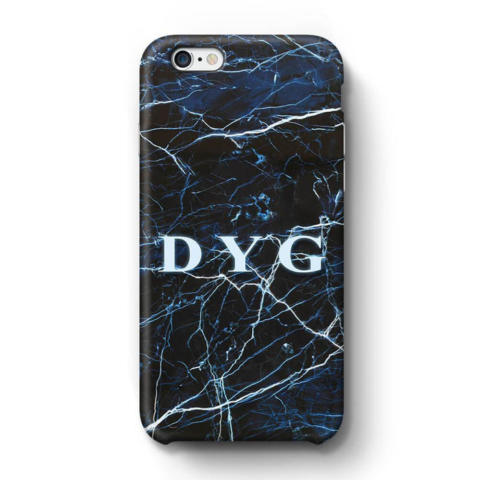 Dark Marble With Initials iPhone 6 Plus 3D Custom Phone Case dark sea
