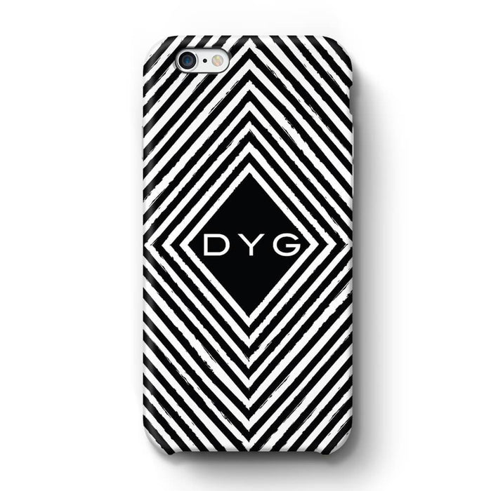 Black & White Patterns with Initial iPhone 6 Plus 3D Custom Phone Case geometric pattern