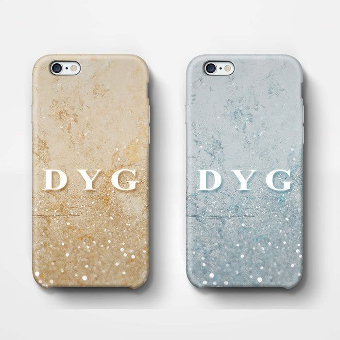 Glitter Marble With Initials iPhone 6 Plus 3D Custom Phone Case variants