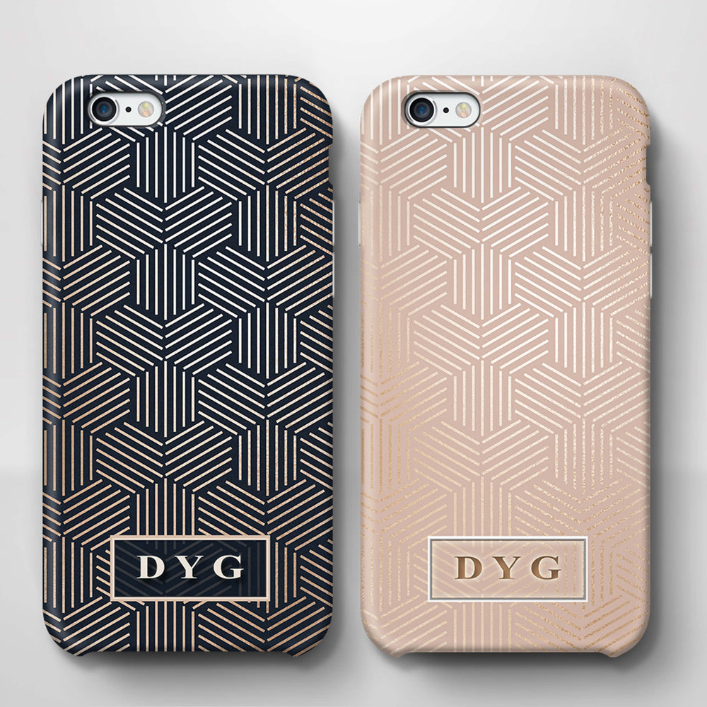 Glossy Geometric Pattern With Initials iPhone 6 Plus 3D Phone Case variants