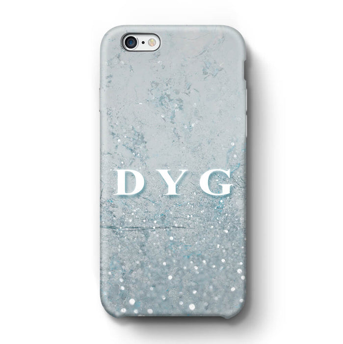 Glitter Marble With Initials iPhone 6 Plus 3D Custom Phone Case light blue
