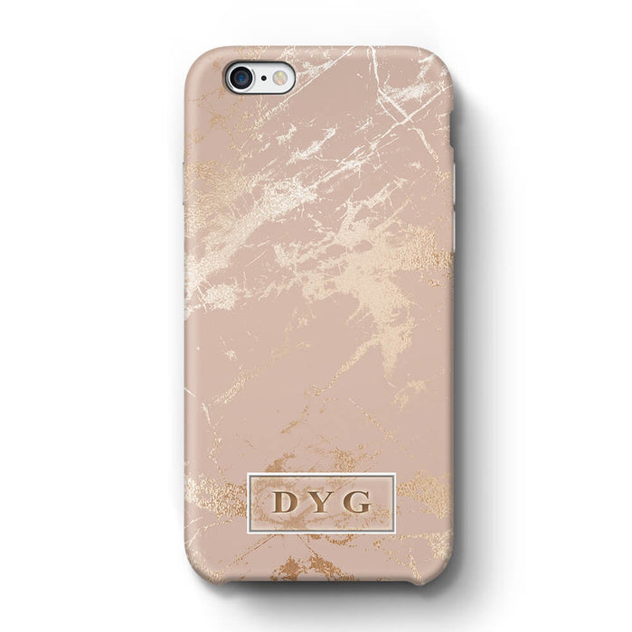 Luxury Gloss Marble With Initials iPhone 6 Plus 3D Custom Phone Case champagne