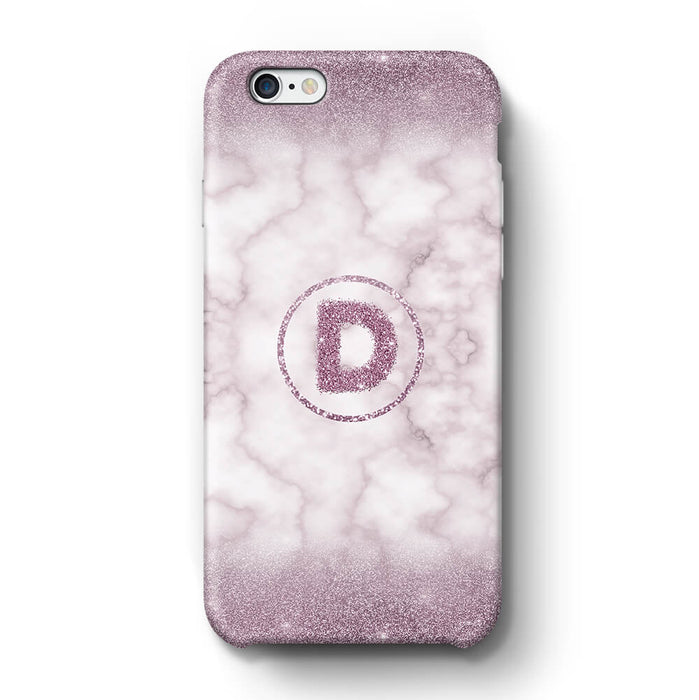 Marble & Glitter With Initial iPhone 6+ 3D Custom Phone Case purple