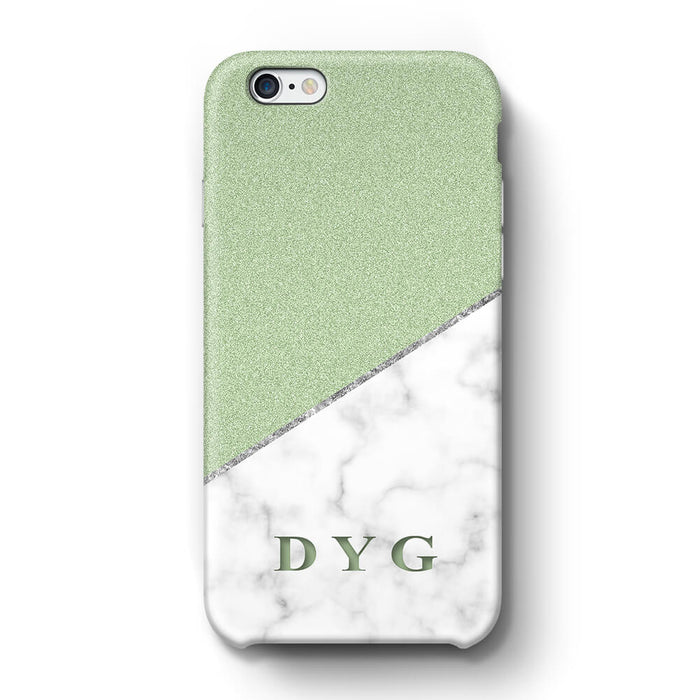 White marble & Glitter With Initial iPhone 6 Plus 3D Custom Phone Case mint
