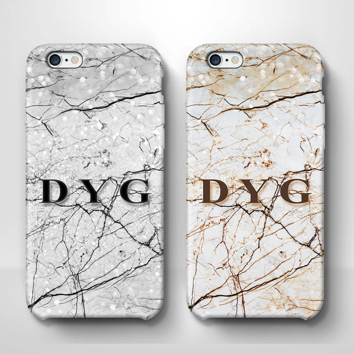 Marble Veins With Initials iPhone 6 Plus 3D Personalised Phone Case variants