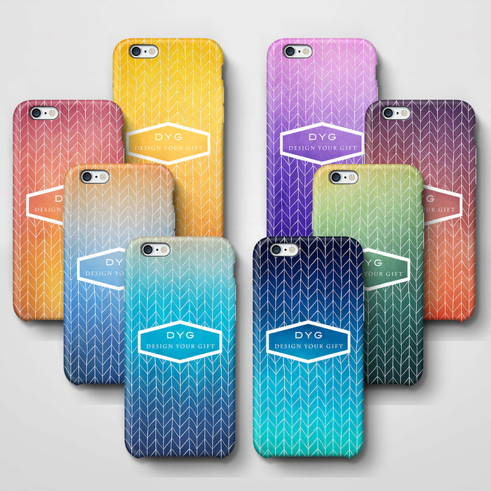 ZigZag Ombre With Text iPhone 6+ 3D Personalised Phone Case variants