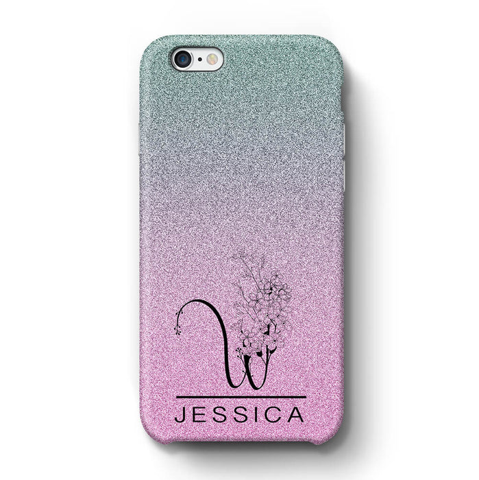 Glitter Ombre With Initial & Name iPhone 6+ 3D Custom Phone Case blue and pink