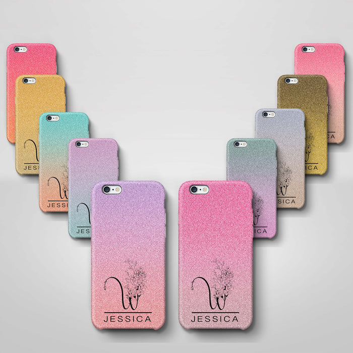 Glitter Ombre With Initial & Name iPhone 6+ 3D Custom Phone Case variants