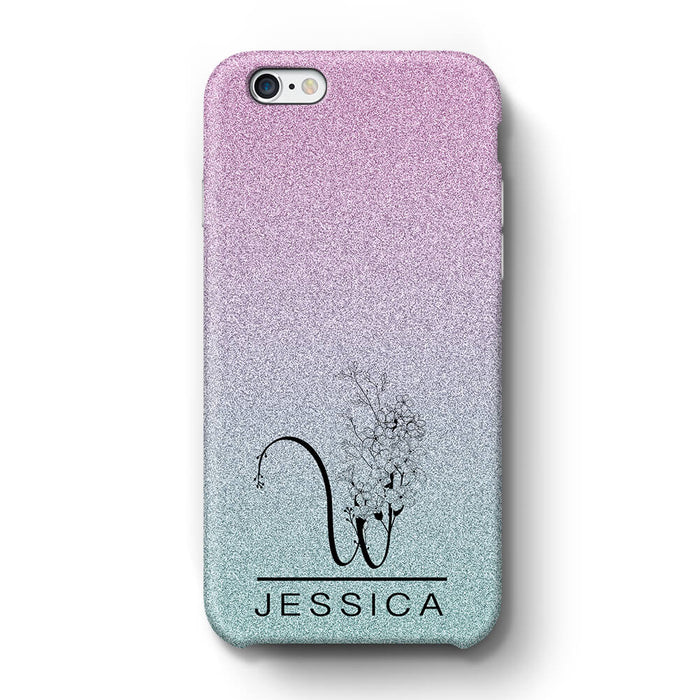 Glitter Ombre With Initial & Name iPhone 6+ 3D Custom Phone Case indigo