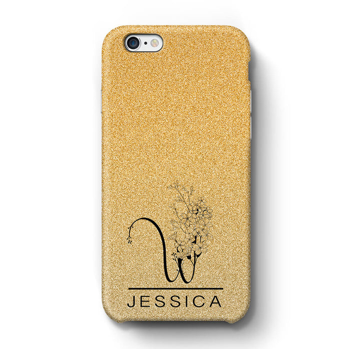 Glitter Ombre With Initial & Name iPhone 6+ 3D Custom Phone Case peach