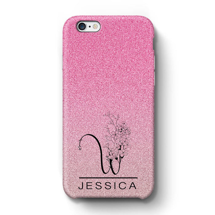 Glitter Ombre With Initial & Name iPhone 6+ 3D Custom Phone Case pink