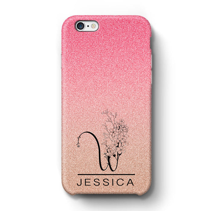 Glitter Ombre With Initial & Name iPhone 6+ 3D Custom Phone Case baby pink