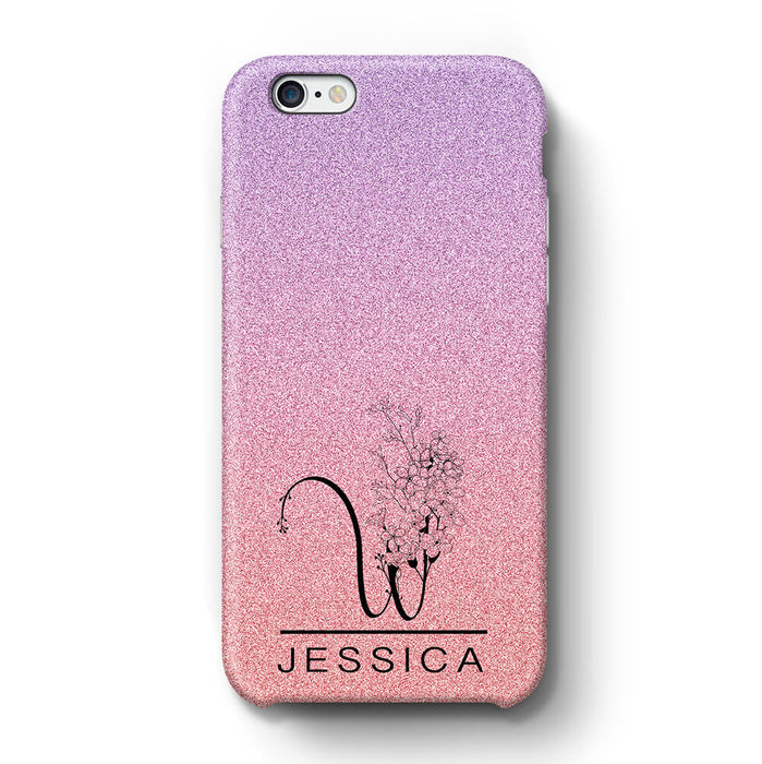Glitter Ombre With Initial & Name iPhone 6+ 3D Custom Phone Case purple and pink