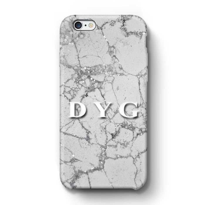Pearl Marble With Initials iPhone 6+ 3D Custom Phone Case silver