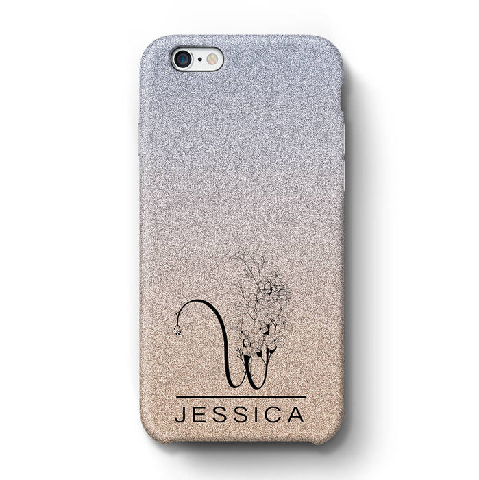 Glitter Ombre With Initial & Name iPhone 6+ 3D Custom Phone Case silver