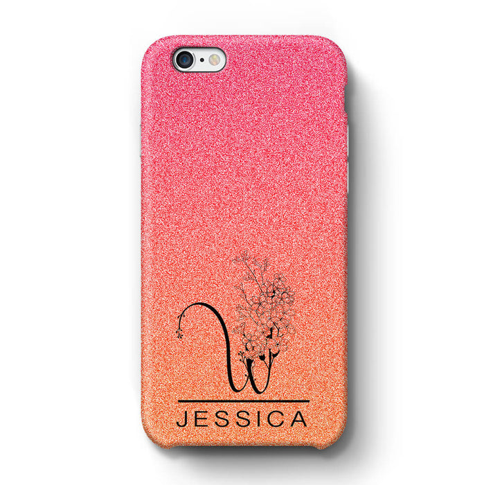 Glitter Ombre With Initial & Name iPhone 6+ 3D Custom Phone Case sunset