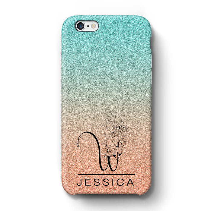 Glitter Ombre With Initial & Name iPhone 6+ 3D Custom Phone Case turquoise and peach