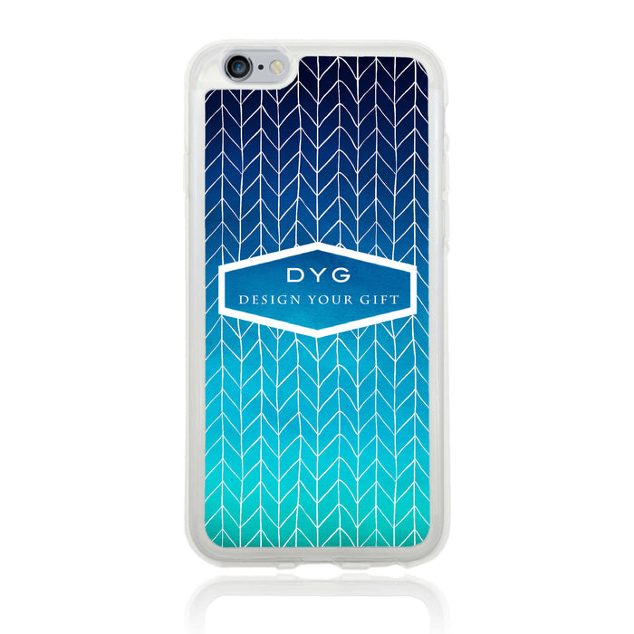 iPhone 6 Clear Phone Case | Text Phone Case | ZigZag Ombre - blue sea colours design