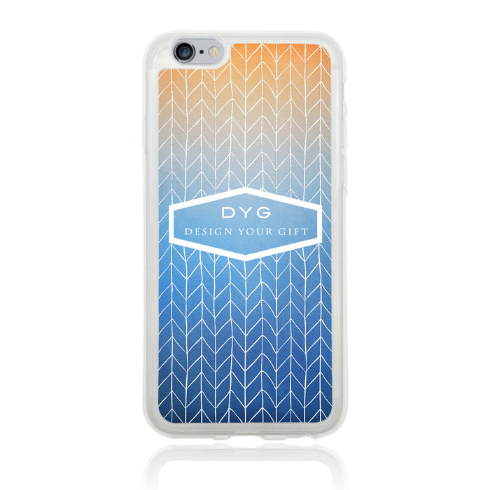 iPhone 6 Clear Phone Case | Text Phone Case | ZigZag Ombre - blue sky colours design