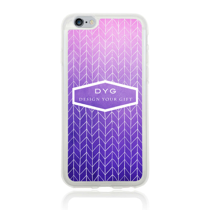 iPhone 6 Clear Phone Case | Text Phone Case | ZigZag Ombre - purple design