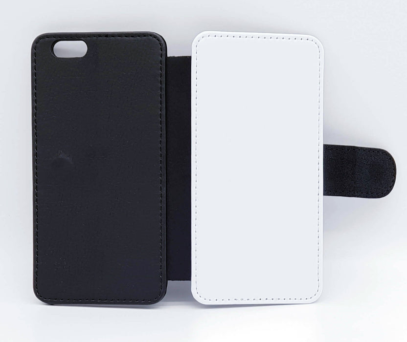Personalised iPhone 6+ Wallet Case | Black & White Pattern - back and front blank visual