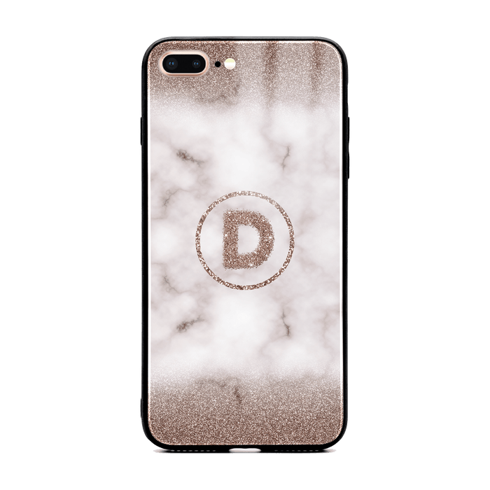 Custom initial iPhone 7+ Glass phone case with sand glitter and marble effect and round shape