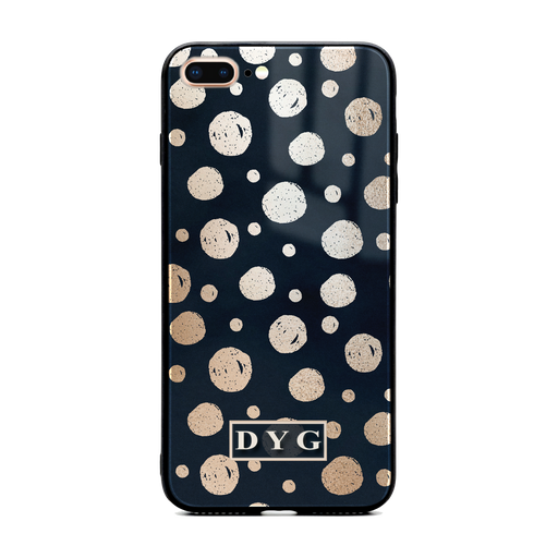 iphone 7+ glass phone case personalised with initials on a glossy dots design pattern black