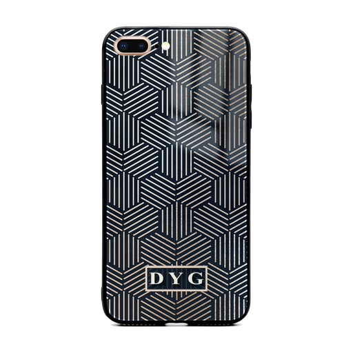 iphone 7+ glass phone case personalised with initials on a black glossy geometric pattern
