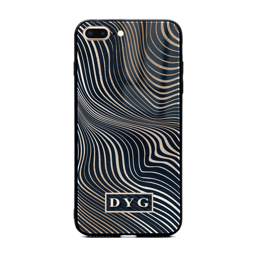 iphone 7+ glass phone case personalised with initials on a black glossy waves pattern
