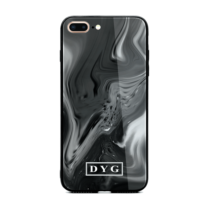 iphone 7+ glass phone case personalised with initials on black liquid marble