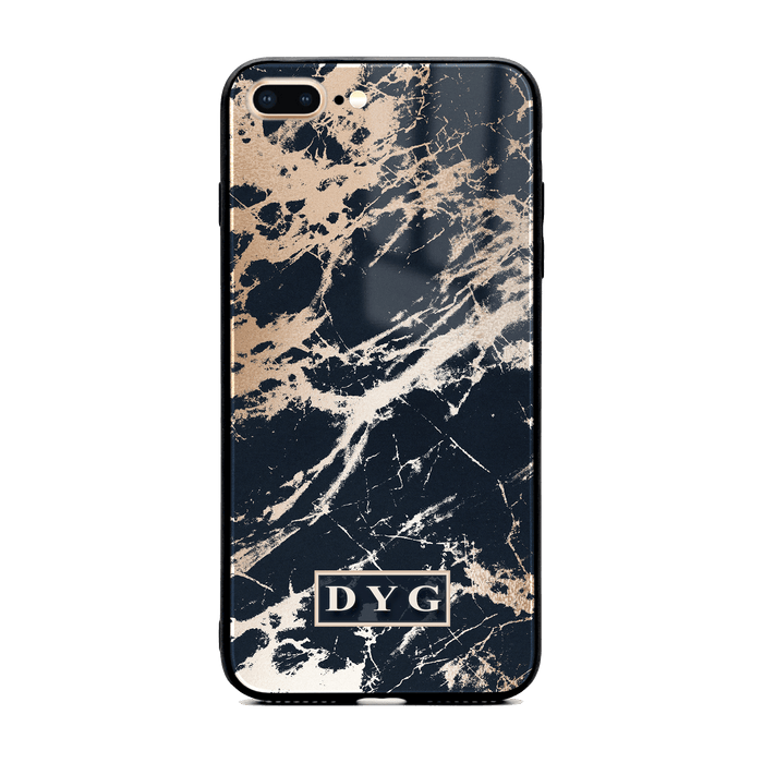 iphone 7+ glass phone case personalised with initials on black glossy marble