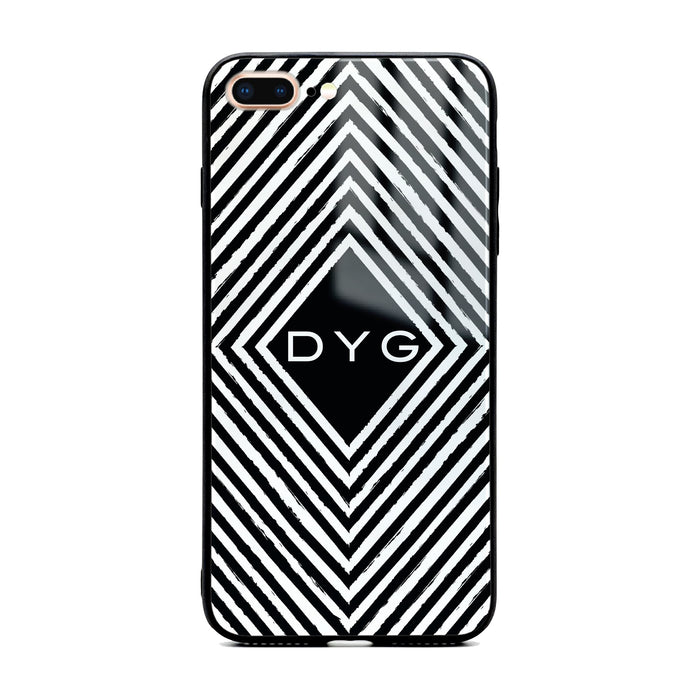 Custom initials iPhone 7+ Glass phone case with withe black and white geometric pattern design
