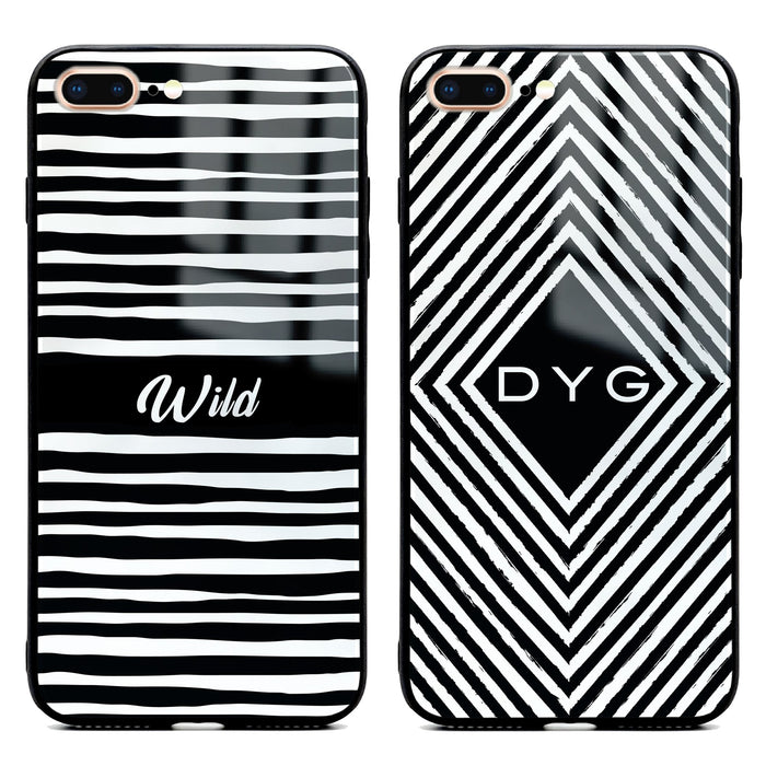 Custom initials iPhone 7+ Glass phone case with seamless black and white patterns in 2 different designs