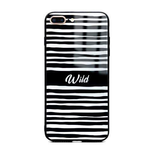 Custom initials iPhone 7+ Glass phone case with Wild black and white design pattern