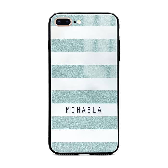 iphone 7+ glass phone case customised with name on blue glitter stripes