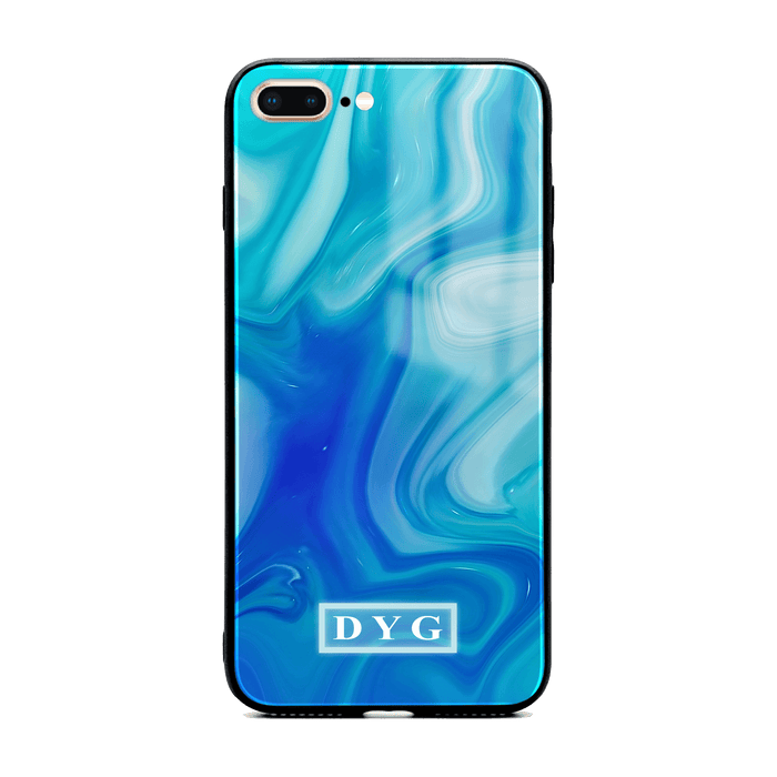 iphone 7+ glass phone case personalised with initials on blue liquid marble