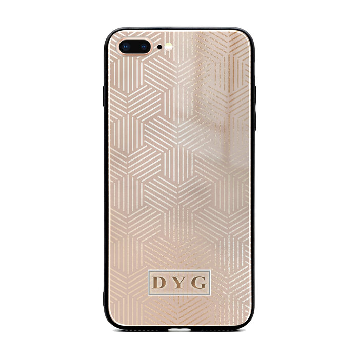 iphone 7+ glass phone case personalised with initials on a champagne glossy geometric pattern