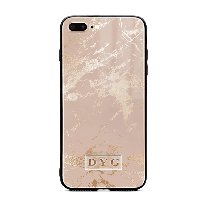 iphone 7+ glass phone case personalised with initials on champagne glossy marble
