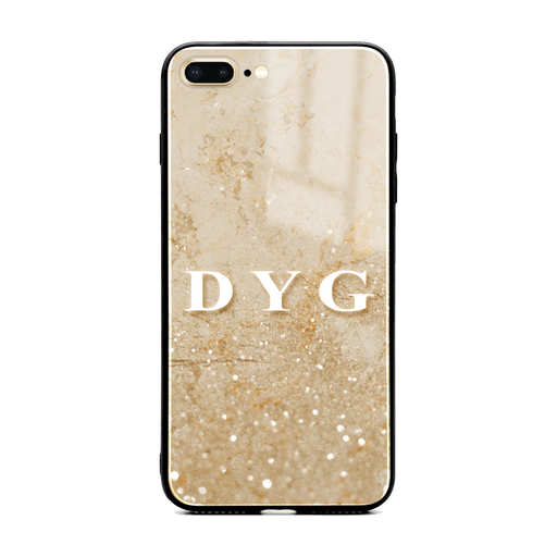 iphone 7+ glass phone case personalised with initials on a seamless cream sparkling marble