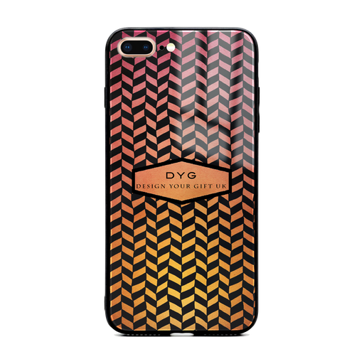 Custom initials iPhone 7+ Glass phone case printed with hollow geometric pattern hot summer colour theme