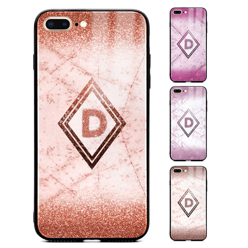 Custom initial iPhone 7+ Glass phone case with glitter and marble effect and diamond shape available in 4 colours