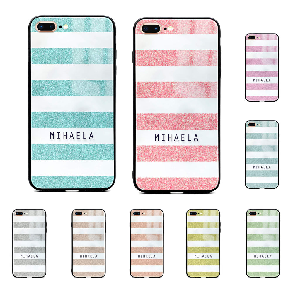 iphone 7+ glass phone case customised with name on glitter stripes design available in 9 colours