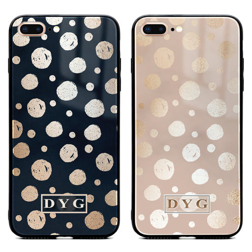 iphone 7+ glass phone case personalised with initials on a glossy dots design pattern available in 2 colours