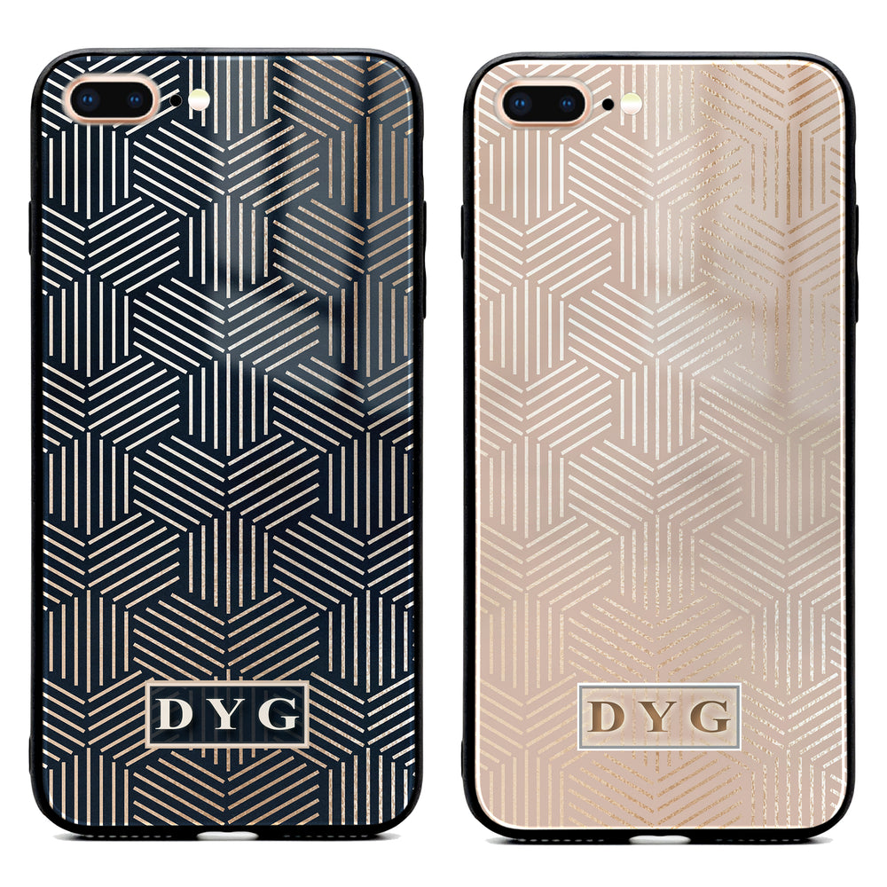 iphone 7+ glass phone case personalised with initials on a glossy geometric pattern available in 2 colours