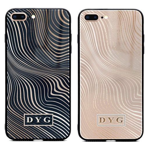 iphone 7+ glass phone case personalised with initials on a glossy waves pattern available in 2 colours