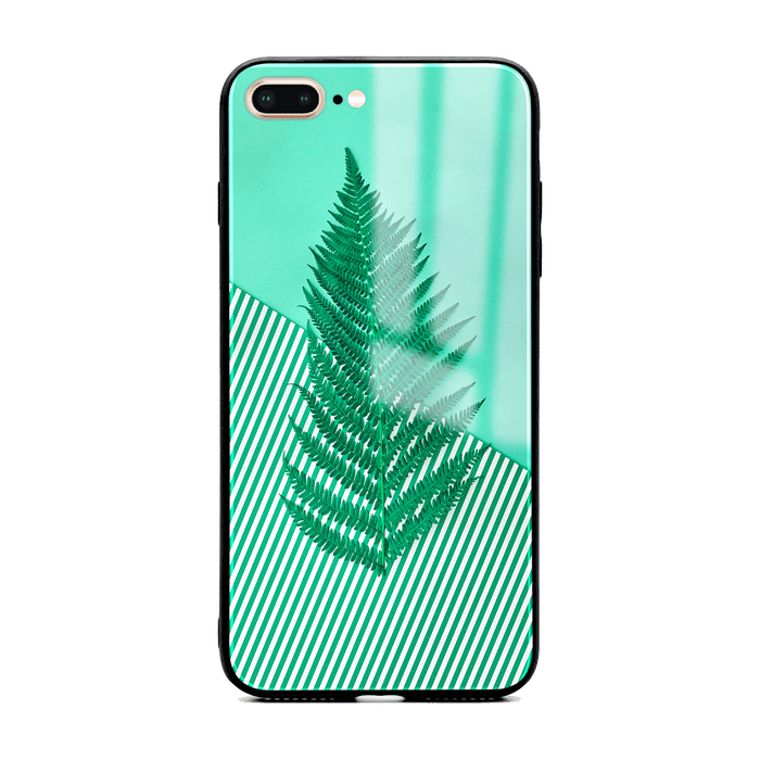 iphone 7+ glass phone case with green feria design