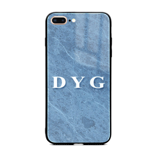 Custom initials iPhone 7+ Glass phone case Blue cave marble effect