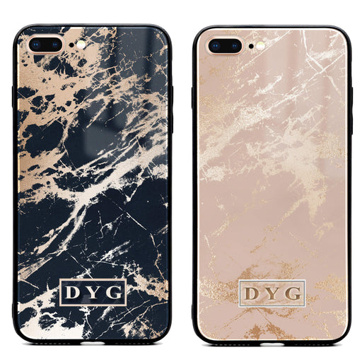 iphone 7+ glass phone case personalised with initials on glossy marble available in black and champagne